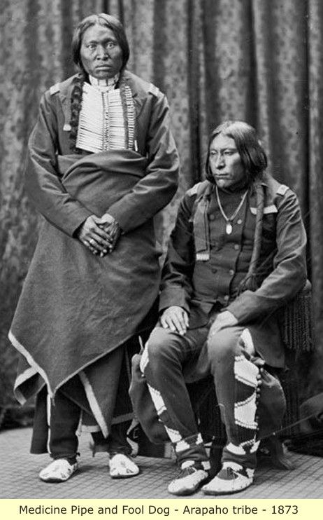Medicine Pipe and Fool Dog - Arapaho Tribe - 1873 - Unknown photographer.