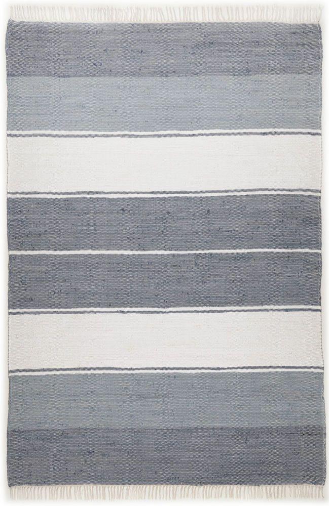 Handgewebter Teppich 100 Baumwolle Grau Weiss Waschbar Streifendesign In Mbel