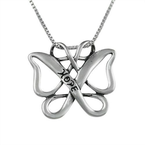 "Sterling Silver Infinite Hope Celtic Butterfly Gift Pendant Sterling Gifts To Inspire. $29.98. Sterling Box Chain Measures 18""L and Secures with Spring Ring Clasp. Freeform Celtic Butterfly Stamped with ""Hope"" on Front. Pendant Measures  1-3/8"" L x 1"" W. Lifetime Warranty on Jewelry, Proudly American Made. Genuine .925 Sterling Silver. Save 44%!"