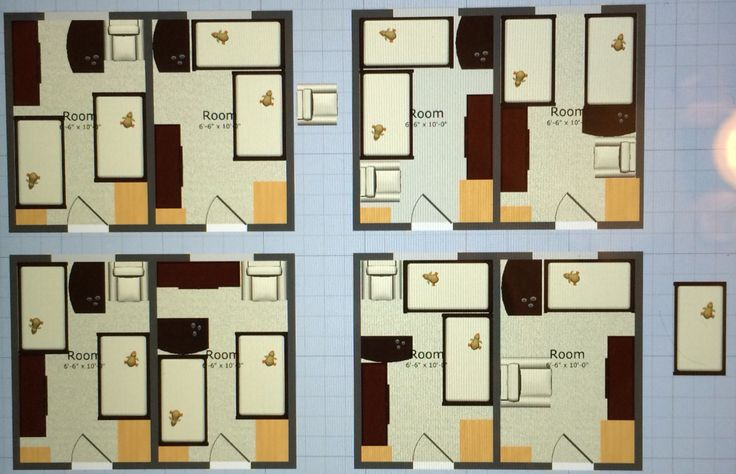 Nursery layouts for a small twin room. This layout has two cribs, a change table, small chair and a closet hutch.