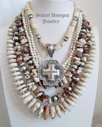 Schaef Designs deer antler, white buffalo turquoise, Arizona Wildhorse, & sterling silver necklaces pairing with Vince Platero small square cross pendant   New Mexico