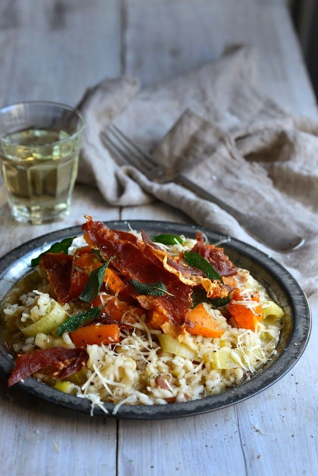 ... and Pumpkin Harvest Risotto with Crispy Prosciutto and Sage Leaves