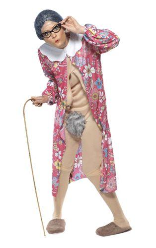 Oma kostuum. Dit grappige oma kostuum is huidskleurig, met badjas. Met dit kostuum aan lijkt net of je het lichaam van een oma hebt. Het oma kostuum is in één maat verkrijgbaar en valt als een medium.