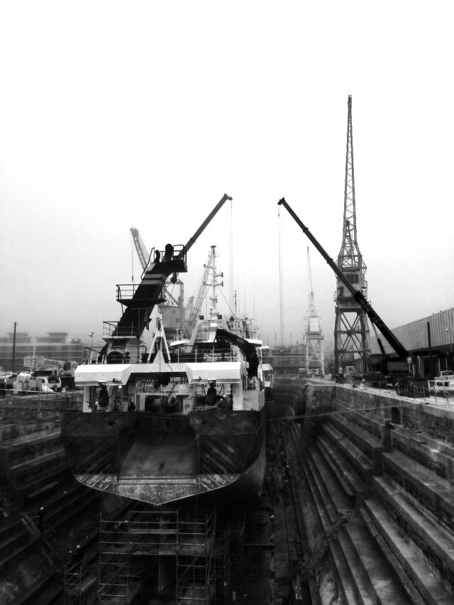 Industrial shipyard and dry dock in Cape Town, South Africa