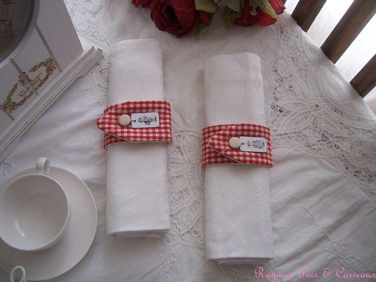 * Nouveauté * : Duo ronds de serviette pour une table Campagne Chic : Accessoires de maison par rayures-pois-et-carreaux