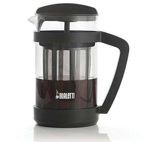Bialetti Cold Brew Coffee Maker Glass Carafe & Stainless Steel Mesh Filter – Compact, Portable Cold Brew Iced Coffee Maker & Tea Infuser – Best For Coarse, Ground Coffee, 24oz.    COMPACT, PORTABLE COLD BREW COFFEE MAKER & TEA INFUSER - Our Bialetti Cold Brew Coffee Maker evenly steeps coarse, ground coffee for a smooth, well-balanced taste that is 65% less acidic than traditional brewed hot coffee. Our compact, portable coffee maker design allows coffee or tea to steep while you...