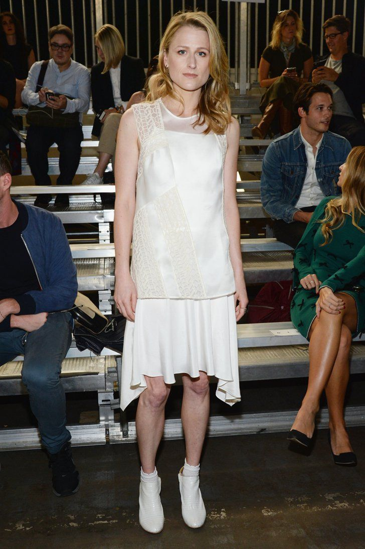 Pin for Later: NYFW's Front Row Is Looking Extremely Fierce Mamie Gummer All white — down to the booties! — for Meryl Streep's daughter Mamie Gummer.