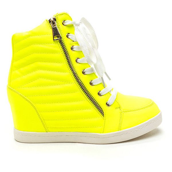 Quilt Me Into High-Top Wedge Sneakers NEONYELLOW ($42) ❤ liked on Polyvore featuring shoes, sneakers, yellow, yellow high top sneakers, platform wedge shoes, faux leather wedge sneakers, high top sneakers and wedge sneaker shoes