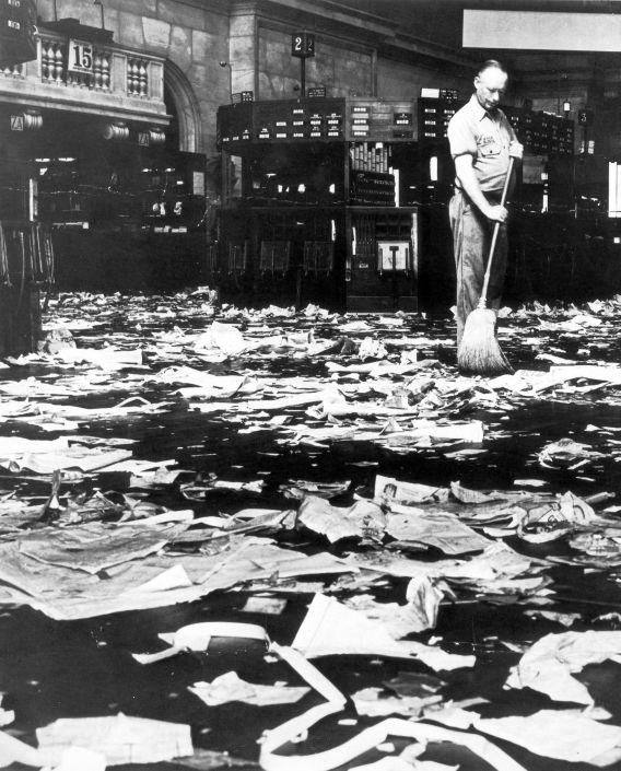 The Great Depression: Man Sweeping Floor of New York Stock Exchange after Crash. 1929.