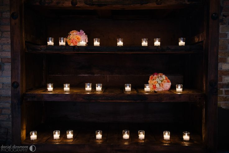 Tea lights in our Vintage Wine Cabinet | Nicollet Island Pavilion Wedding with Stacey & Nick | Daniel Dinsmore Photography