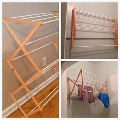 Transform your drying rack to a space-saving wall-mounted version.