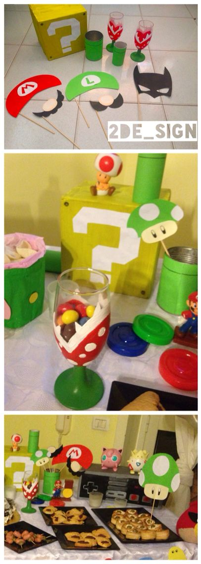 Festa a tema videogioco / videogames party , containers and decorations with  Nintendo and play station symbols: super Mario, Plants, tubes