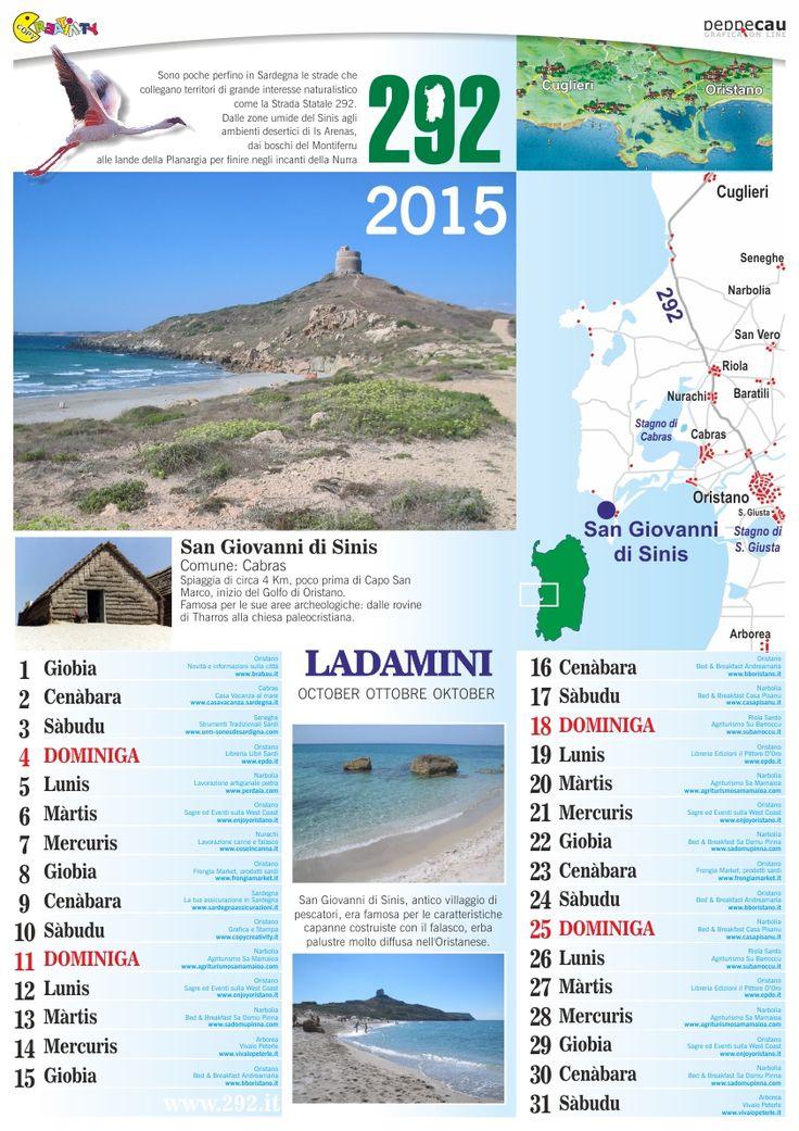 Ottobre del calendario 2015 in sardo con le foto delle spiagge della Sardegna scaricabile gratis da http://www.ecau.it/2015/ottobre/