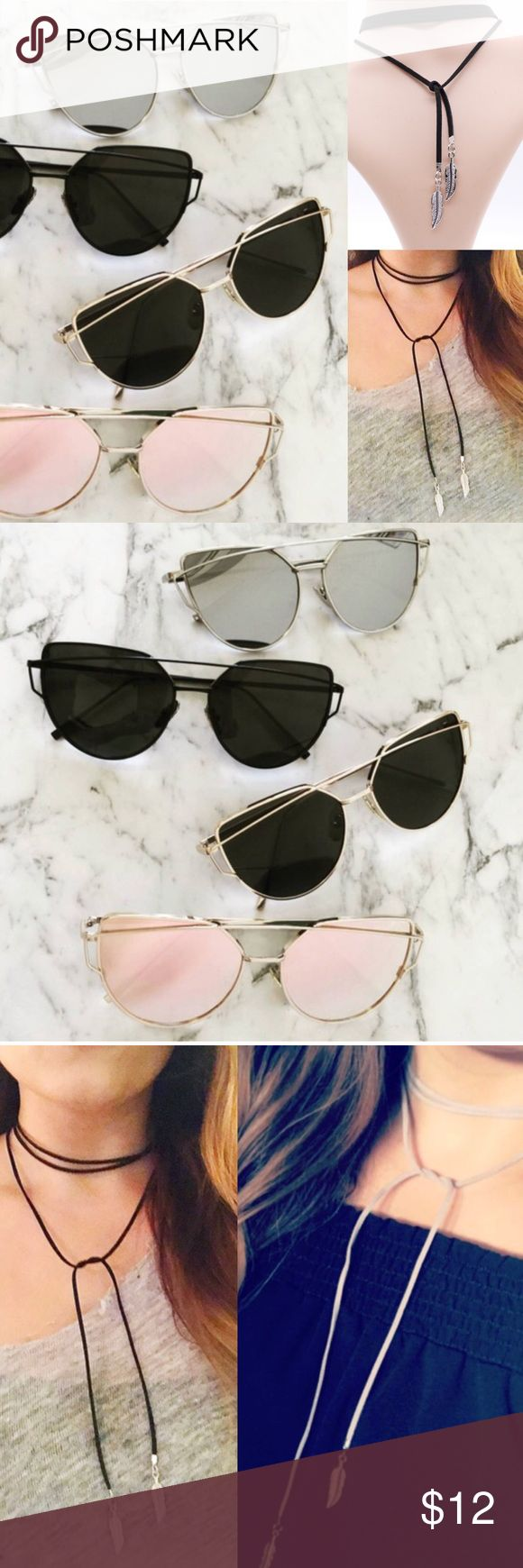 BUNDLE: Your Choice Sunnies ➕ Choker Pick any color sunglasses and any Choker listed on my site for flat rate of $12! Enjoy this custom bundle! Sunglasses Colors Available: Rose gold, Black, Silver. Choker options: Feather Wrap (in black or grey), 5cm Black Velvet Choker Accessories Sunglasses