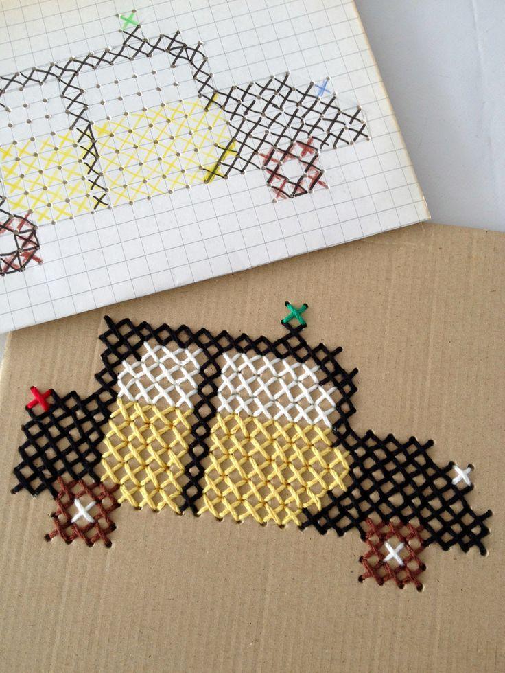 cross stitch diy for kids via fawnandforest.com