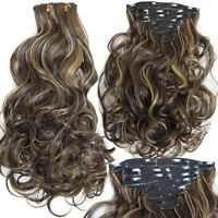 Assorted Color Long Clip In Synthetic Charming Fluffy Curly Hair Extension Suit For Women