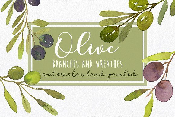 Watercolor Olives Branches and Wreaths Clip Art Set -Elegant pack, olives, branches, wreathes in original watercolor by MARAQUELA.