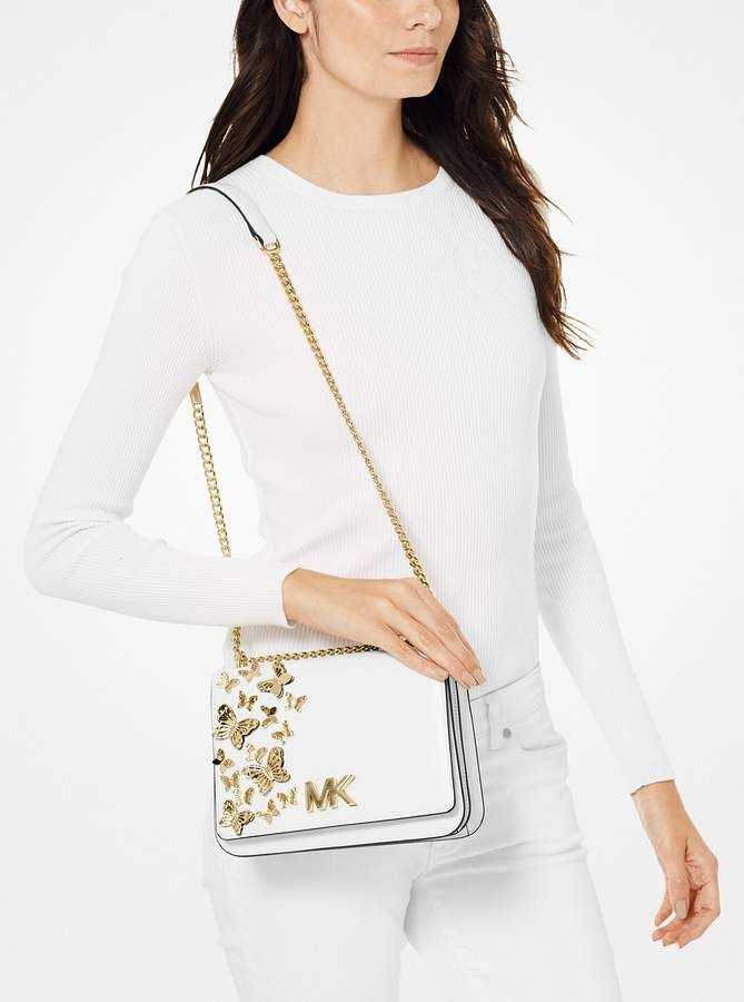 Michael Michael Kors Mott Large Butterfly Embellished Leather Crossbody Bag With Images Crossbody