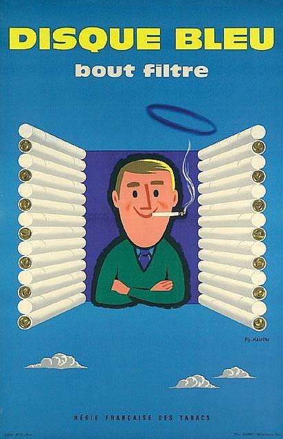 Disque Bleu (Gauloises) - illustration de Pierre Fix Masseau - 1956 - France -