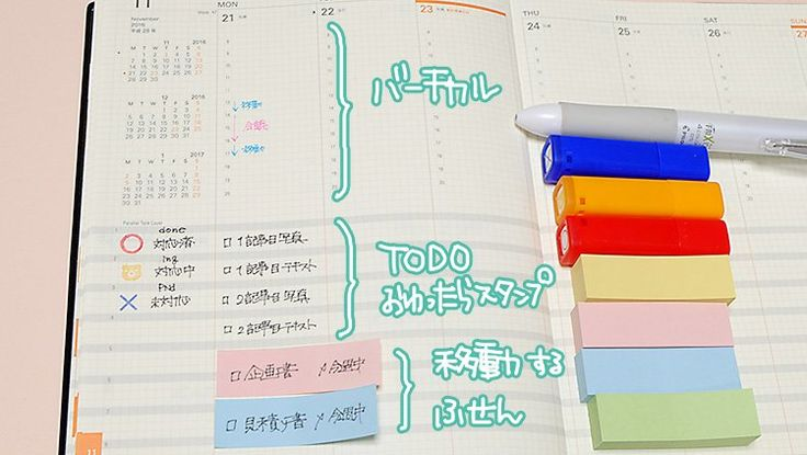 To-do + moved + stamps + sticky notes + 手帳
