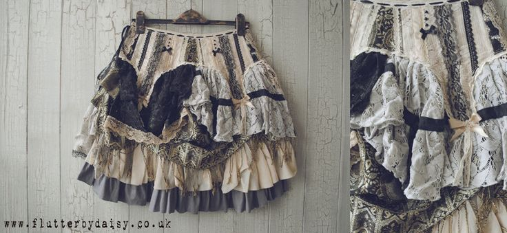PIXIE Skirt in Black Grey Cream and Tea Stain by Flutterbydaisy on Etsy https://www.etsy.com/listing/242287119/pixie-skirt-in-black-grey-cream-and-tea