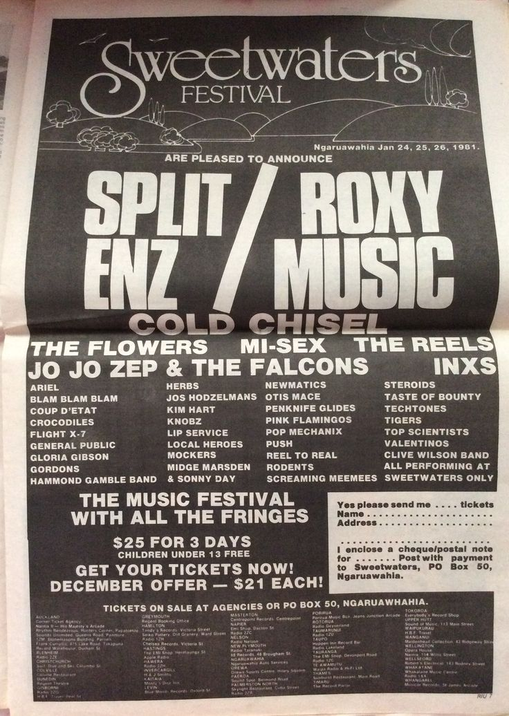 Sweetwaters Music Festival advert in the Dec 1980 issue of Rip It Up NZ magazine.