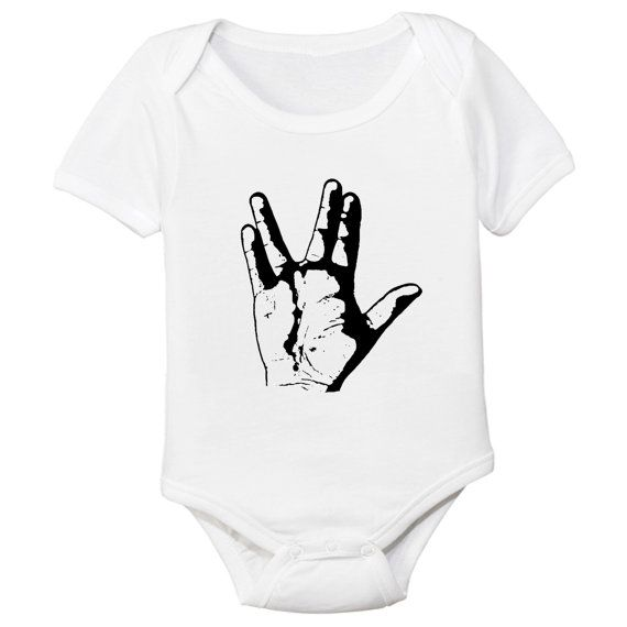 Star Trek Spock Vulcan Greeting Hand Sign Baby Bodysuit