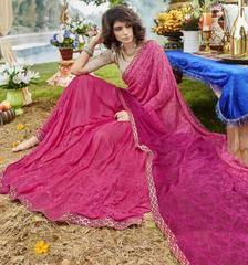 Pink Color Half Chiffon & Half Georgette Designer Party Wear Sarees : Noorani Collection YF-64111