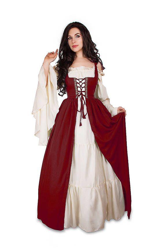 PRE ORDER ** Renaissance Medieval Irish Costume Over Dress & Cream Chemise Set