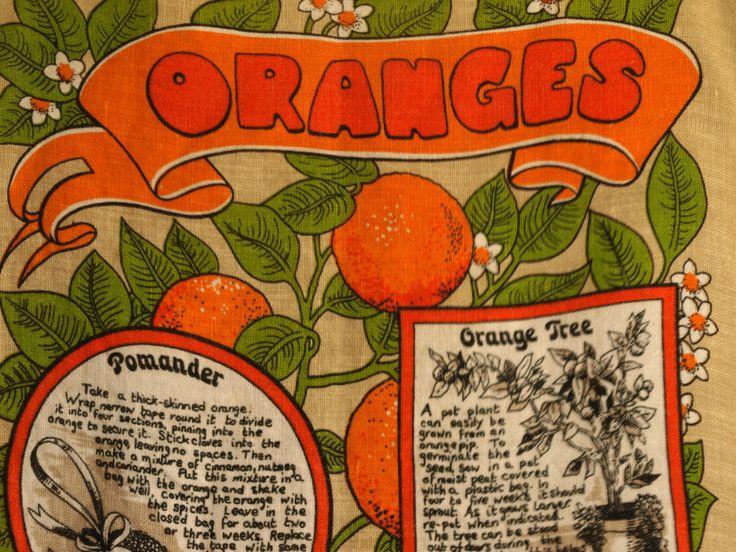 Retro Vintage Pure Irish Linen Oranges Tea Towel - 70s Old English Marmalade - Pomander - Orange Tree Tea Towel by FunkyKoala on Etsy