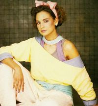 80's pastels off the shoulder yellow top and pink bow