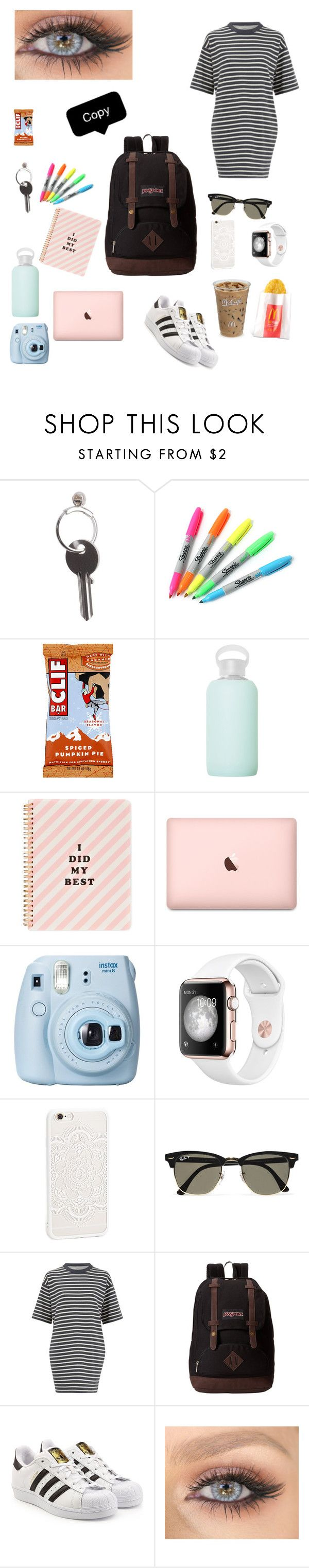 """""""You are running so late➡️"""" by kylieirwin11 ❤ liked on Polyvore featuring Maison Margiela, Sharpie, bkr, ban.do, Fujifilm, JFR, Ray-Ban, Wood Wood, JanSport and adidas Originals"""