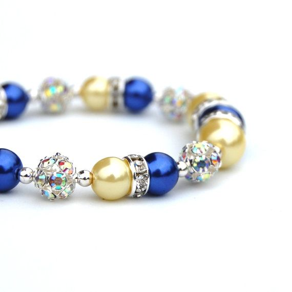 $22.00 Sparkling Cobalt Blue and Lemon Pearl Bracelet from AMIdesigns  Handmade Beaded Jewelry / Etsy