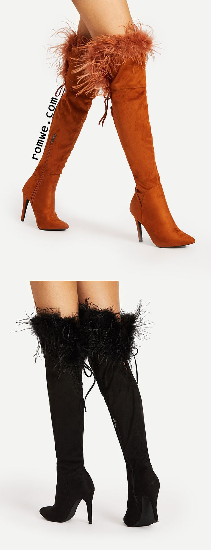 Faux Fur Point Toe Over The Knee Boots