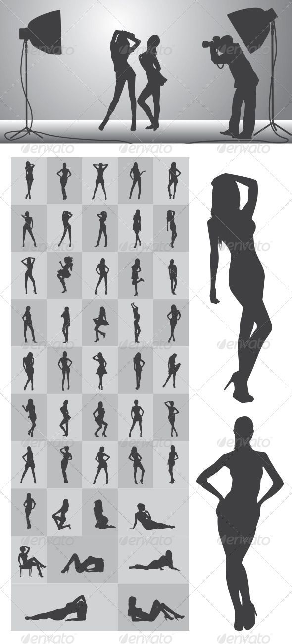 Girl Silhouettes #GraphicRiver Nice and High Detail Silhouettes. in this items…