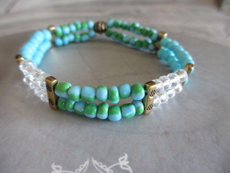 Armbänder - Armband 2-reihig türkis Glasperlen Facettperlen - ein Designerstück von Qulaju bei DaWanda