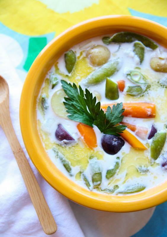 #Paleo Summer Solstice recipe Scandinavian Soup(use coconut four) #GlutenFree #LowCarb