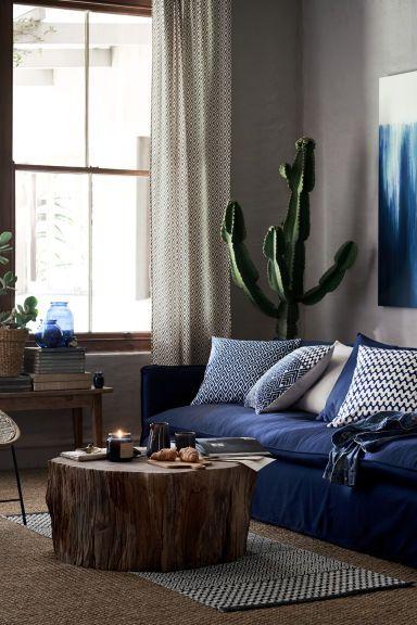 Katoenen vloerkleed met dessin: Een rechthoekig vloerkleed van geweven katoen met een geprint dessin op de bovenkant.