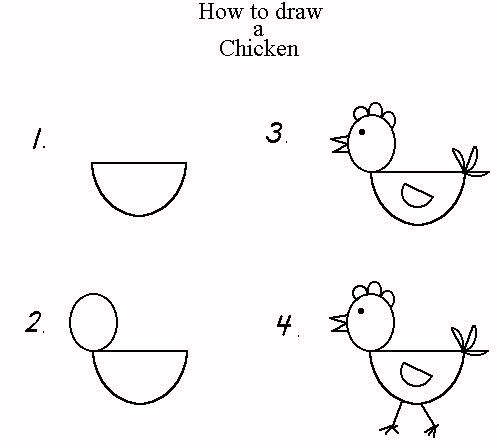 """How to draw a chicken - while  I realize that these """"how-to""""s can stifle creativity, little ones LOVE being able to draw their favorite animals."""