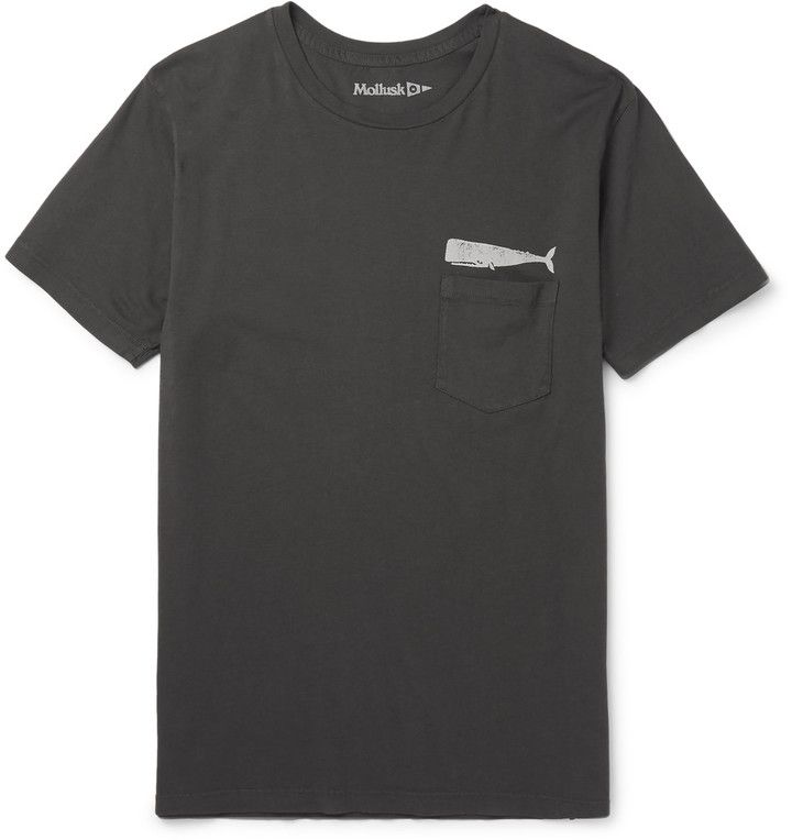 Mollusk Olde Whale Slim-Fit Printed Cotton-Jersey T-Shirt