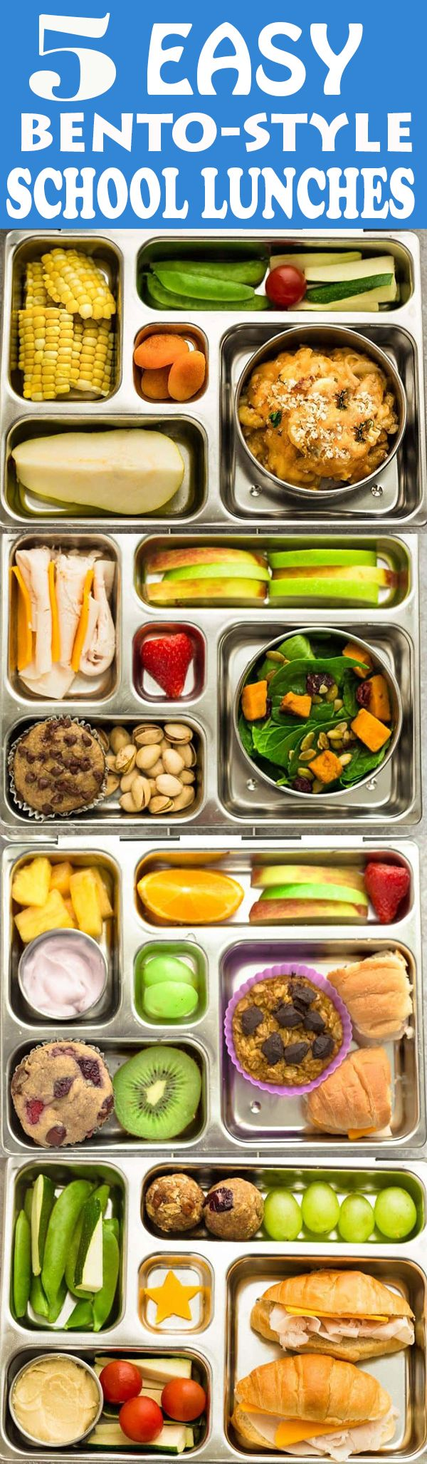 5 Easy, Healthy, Fun and Delicious Bento Box School Lunches for Fall and Autumn. With ideas for apples, pumpkins and sweet potato along with options for nut free, dairy free and gluten free choices in cute bento lunchboxes. There is something for even picky eaters who will want to finish their food with no leftovers. Perfect for adults too who are looking for recipes and ideas other than sandwiches to bring to work in fun lunchboxes.#lunchbox #schoollunches #lunch #bentobox #kidfriendly