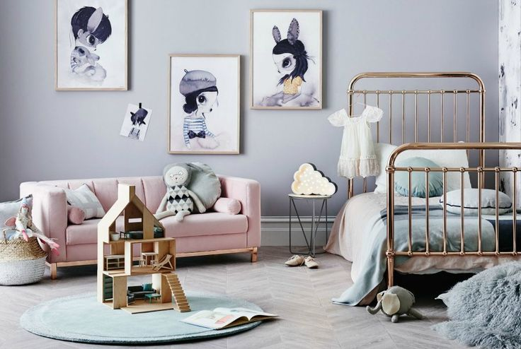 Scandinavian kids room with Incy Interiors gold eden bed on The Life Creative Norsu