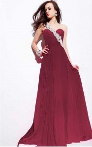 A-line Floor-length One Shoulder Burgundy Dress