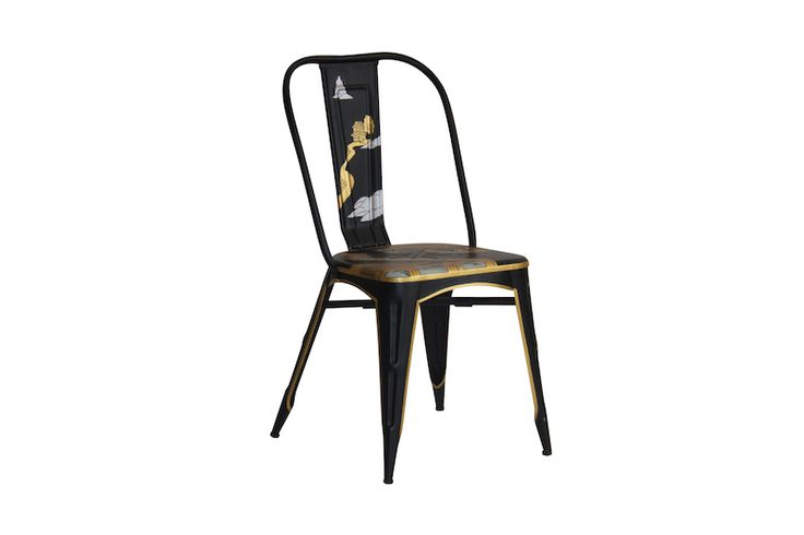 SINGAPORE HAND PAINTED METAL CHAIR Metal dining chair with hand painted Chinese picture Size 500 x 550 x 660 mm