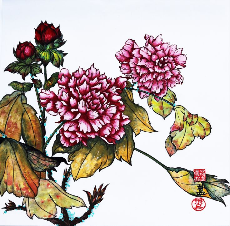 """""""Peonies: Virgil's Peace"""" Painted on sized xuan paper by fb.com/ConnieLamART."""