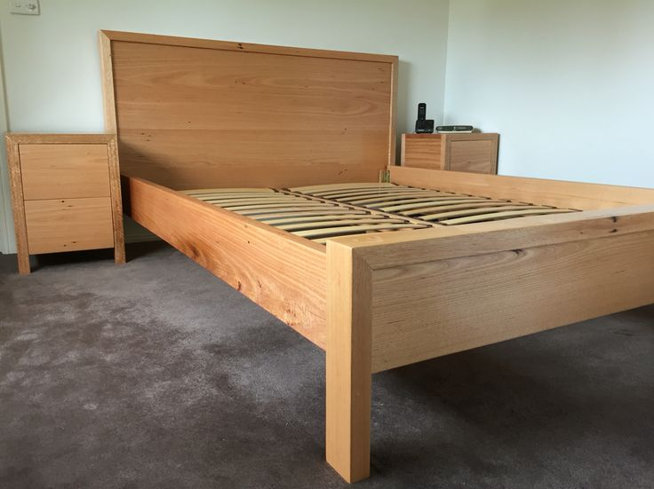 Recycled vic ash timber bed & matching bedsides