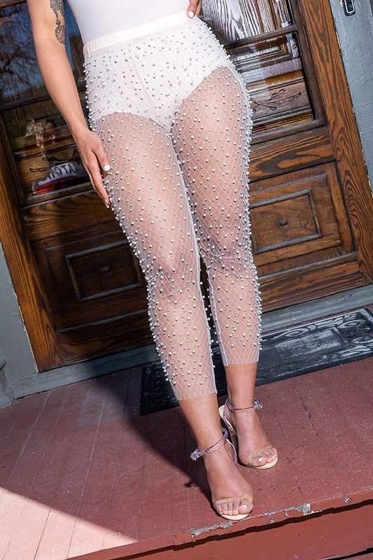 3d30b92eddd0e Pearl Talk Embellished Mesh Pants - Nude #Nude #Mesh | Products ...