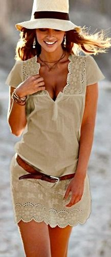 scalloped hem and collar cotton beach dress