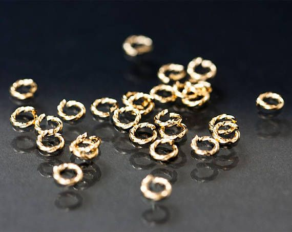 2717_Gold twisted jump rings 5mm, Open jump rings, Gold plated jump rings, Strong jump rings, Brass connectors, Findings jewelry making_5 g.