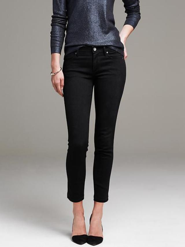 Holiday Fashion and Style - Black Jeans, Sparkly Shirt, Pointy High Heel Shoes